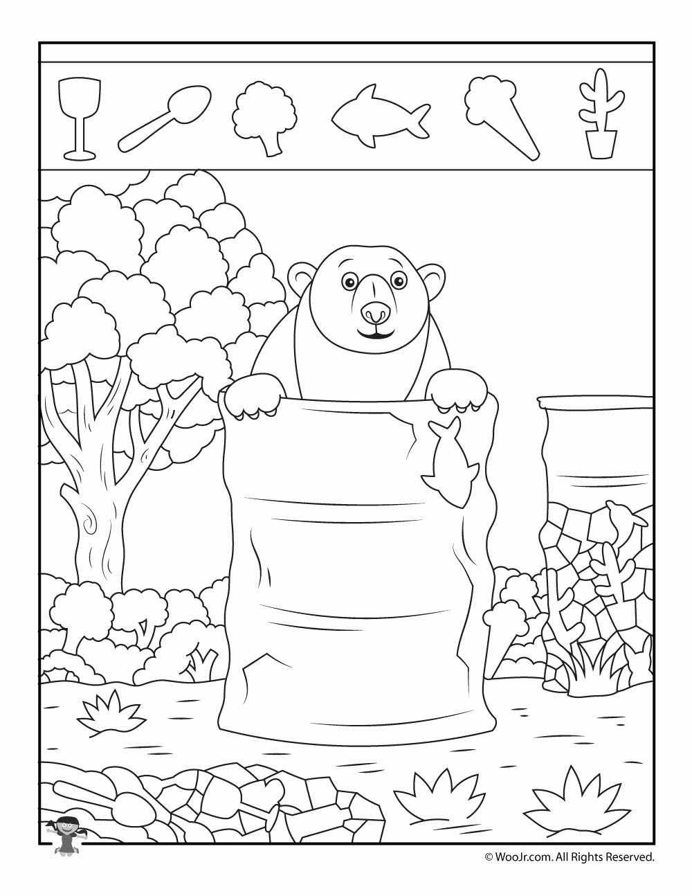 Hidden Animal Pictures Worksheets Lovely Camping Bear Hidden Object Puzzle