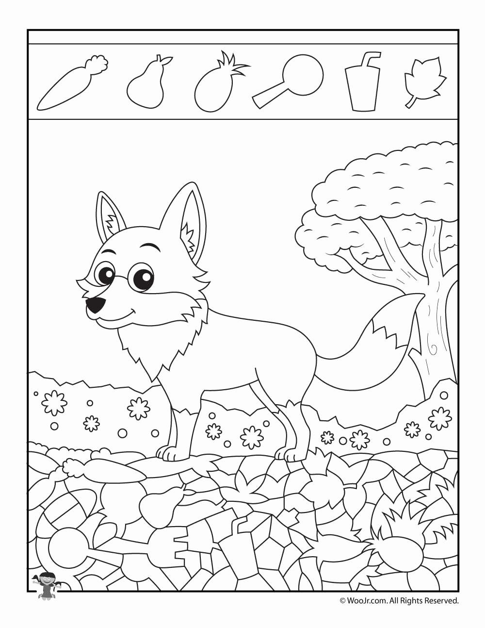 Hidden Animal Pictures Worksheets Luxury Fox Easy Hidden Picture Page