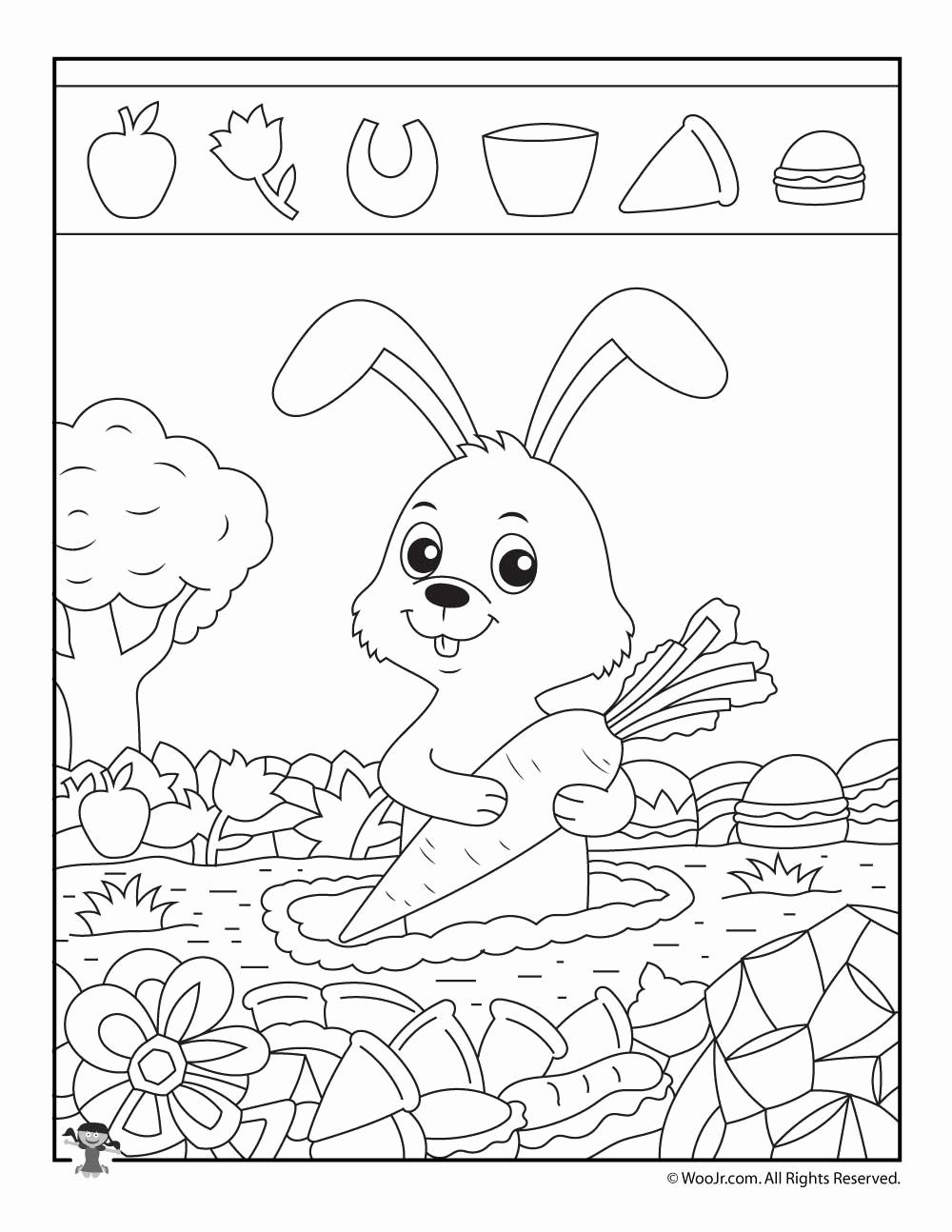 Hidden Animal Pictures Worksheets Unique Rabbit Hidden Picture Puzzle