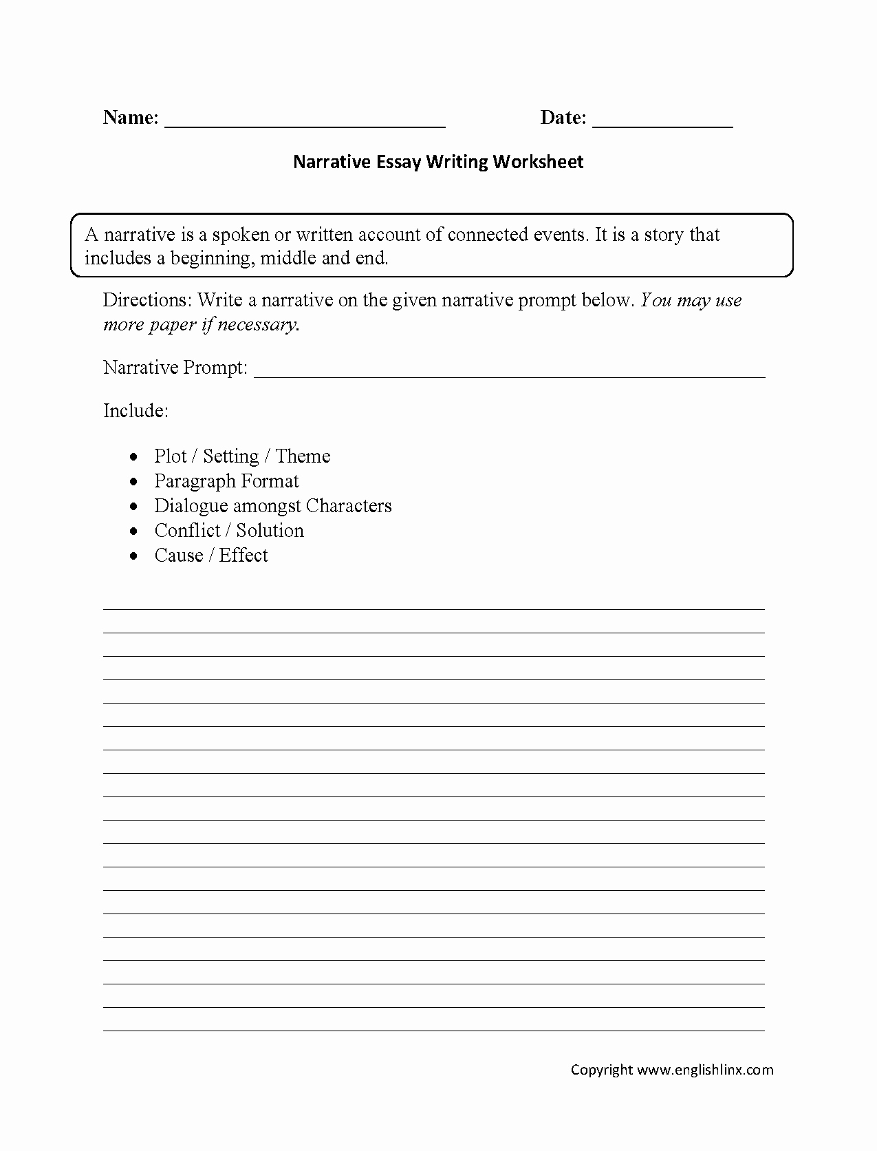 High School Essay Writing Worksheets Lovely Narrative Essay Writing Worksheets
