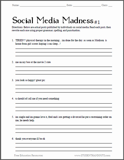 High School Punctuation Worksheets Luxury social Media Madness Worksheets