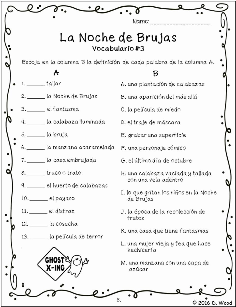 High School Spanish Worksheets Beautiful Spanish Halloween Activities