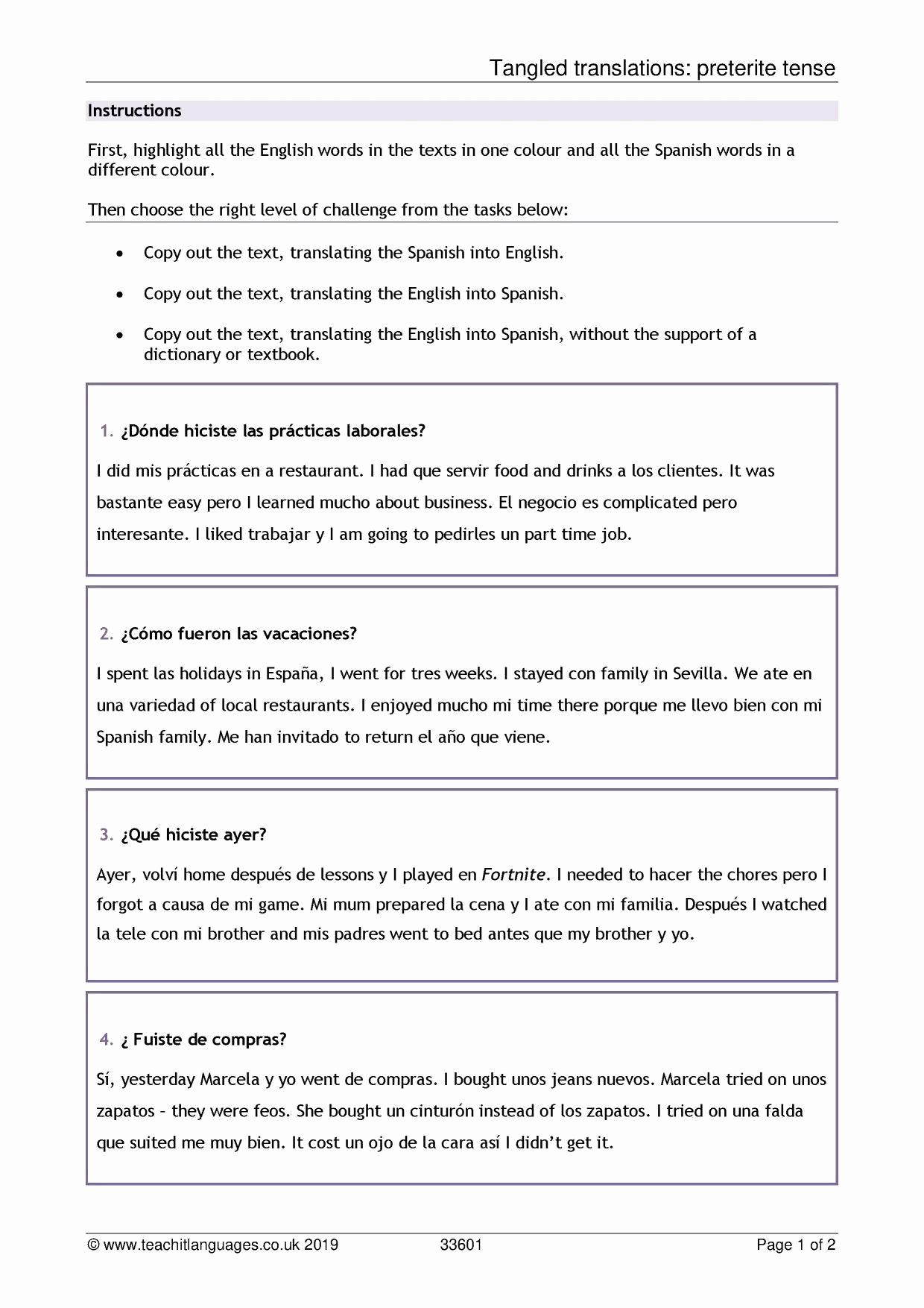 High School Spanish Worksheets Elegant Professionally 20 High School Spanish Worksheets