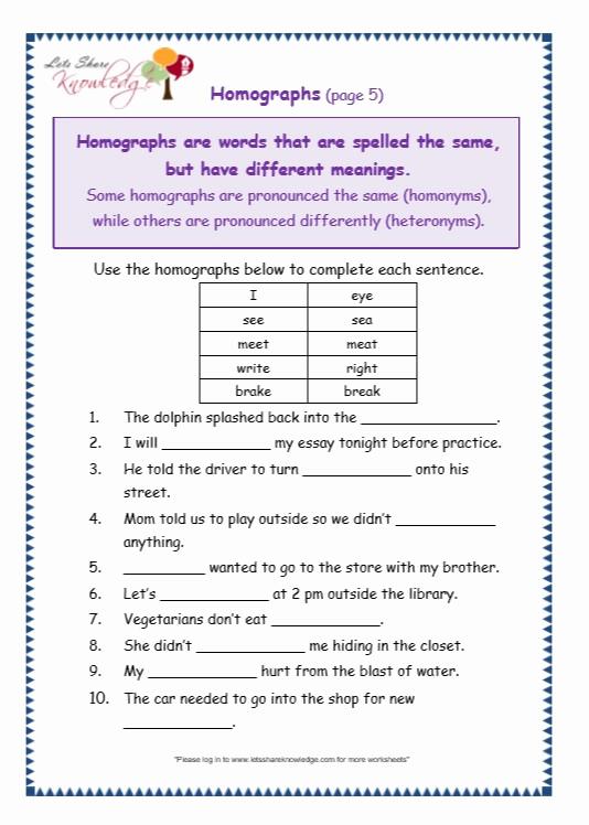 Homograph Worksheets 5th Grade Best Of 20 Homograph Worksheet 5th Grade