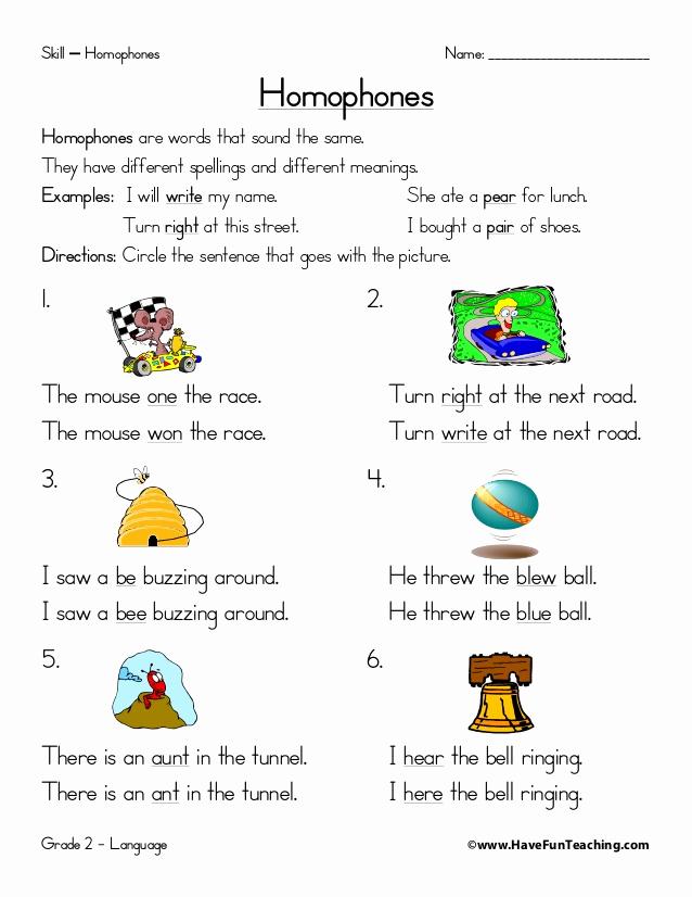 Homographs and Homophones Worksheets Awesome Homophones Worksheet