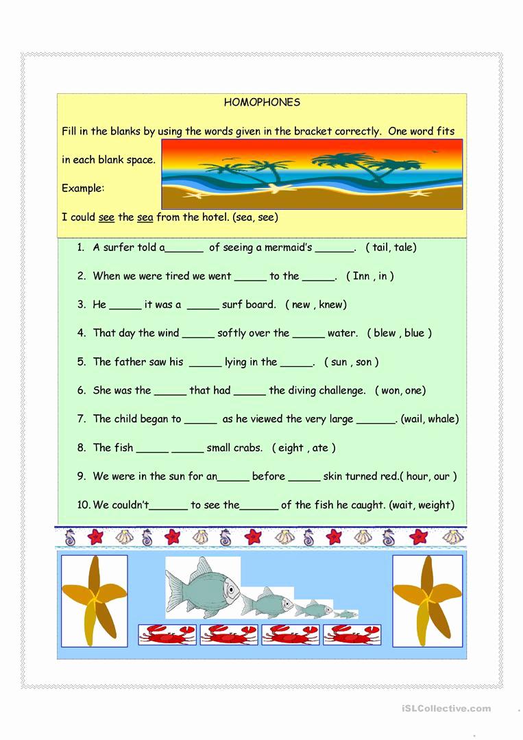 Homographs and Homophones Worksheets Best Of Homophones Homographs & Synonyms Worksheet Free Esl