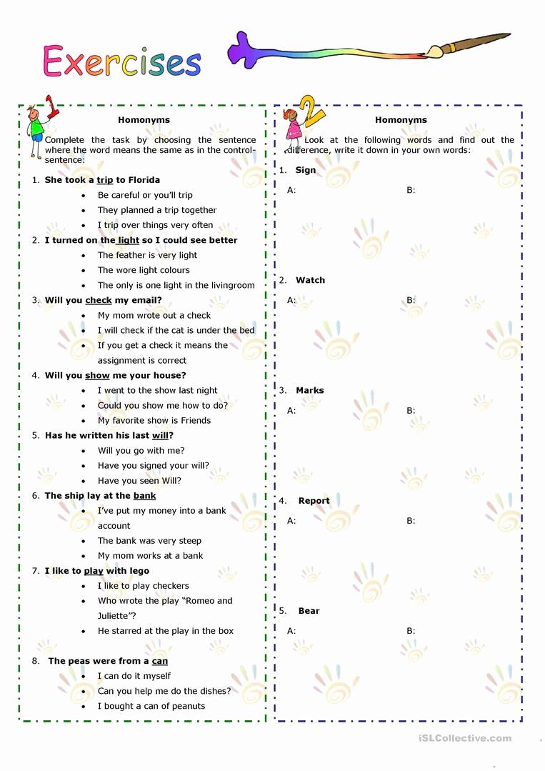 Homographs and Homophones Worksheets Fresh Homonyms Homophones Homographs English Esl Worksheets