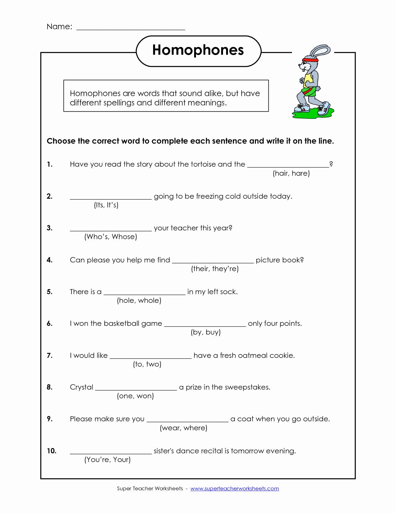 Homographs and Homophones Worksheets Fresh Homophones Worksheet