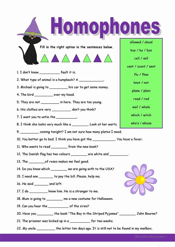 Homographs and Homophones Worksheets Lovely Homophones 1 Worksheet Free Esl Printable Worksheets