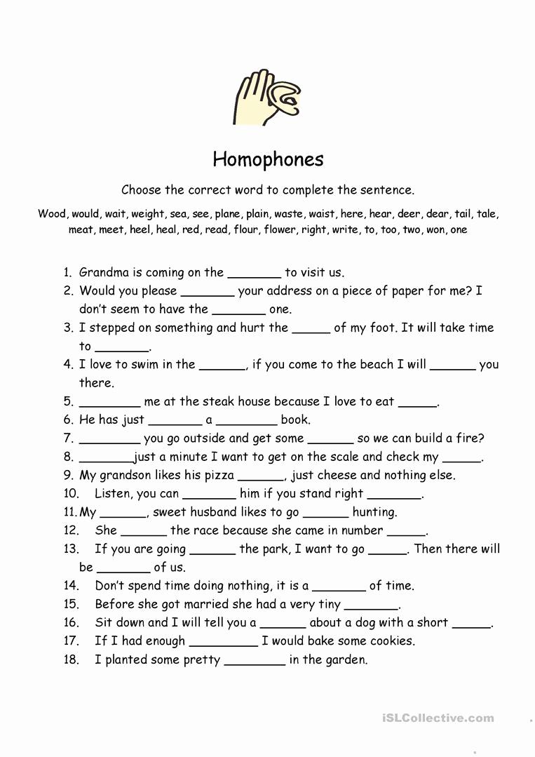 Homographs and Homophones Worksheets Lovely Homophones Worksheet English Esl Worksheets for Distance