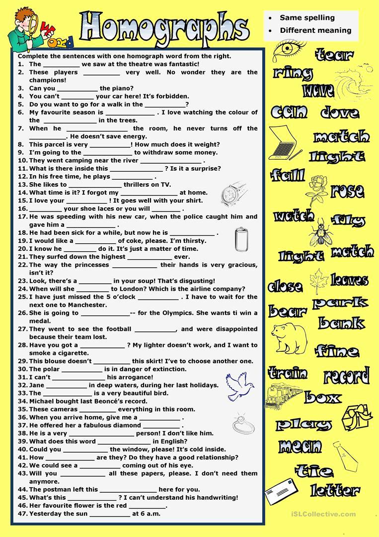 Homographs and Homophones Worksheets Unique Homographs Worksheet Free Esl Printable Worksheets Made