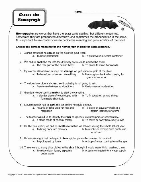 Homographs Practice Worksheets Awesome 17 Homographs Practice Worksheets