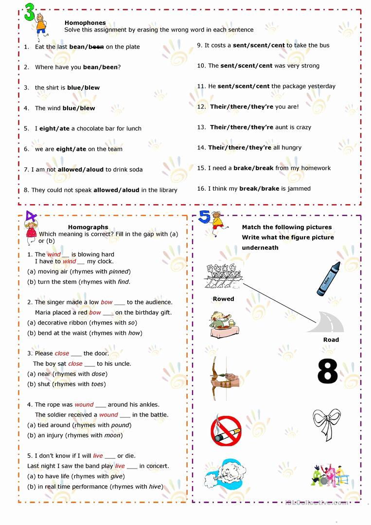 Homographs Practice Worksheets Awesome Printables Of Worksheet Homophones and Homographs