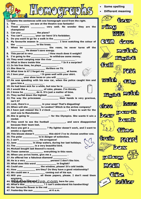 Homographs Practice Worksheets Elegant Homographs … …