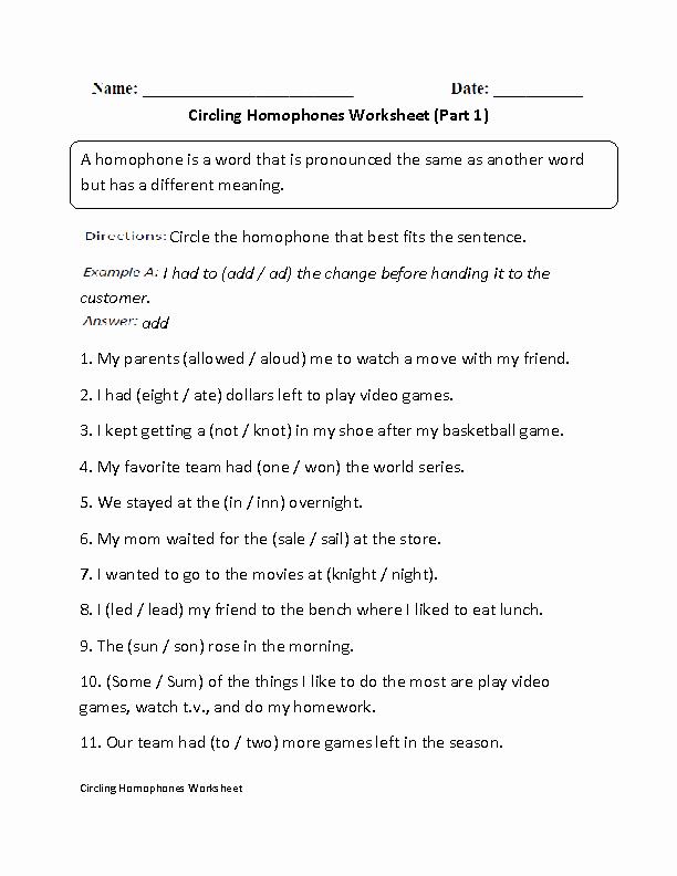 Homonym Worksheets High School Best Of Englishlinx