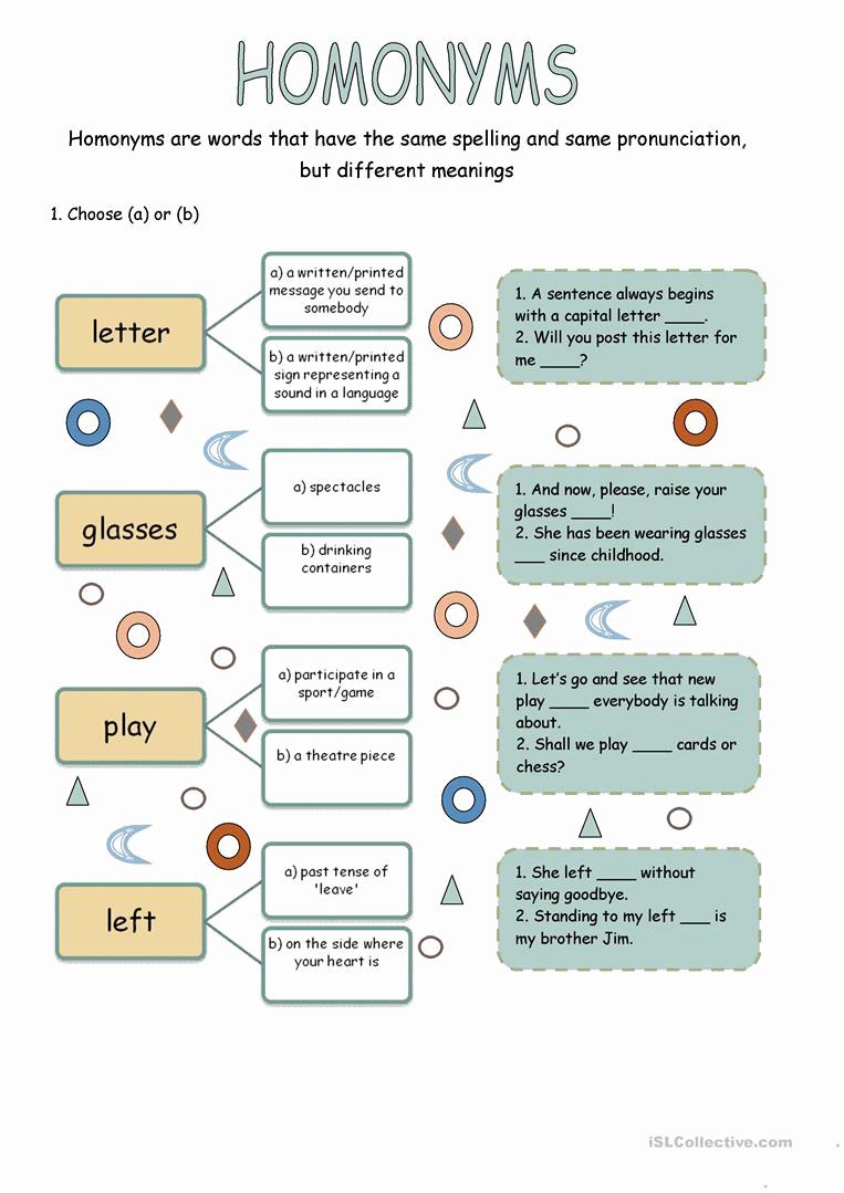 Homonym Worksheets High School New Homonym Worksheets High School – Worksheet From Home