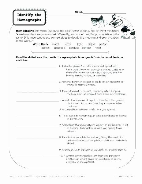 Homonym Worksheets High School New Homophones Worksheet High School Free Homophone Worksheets