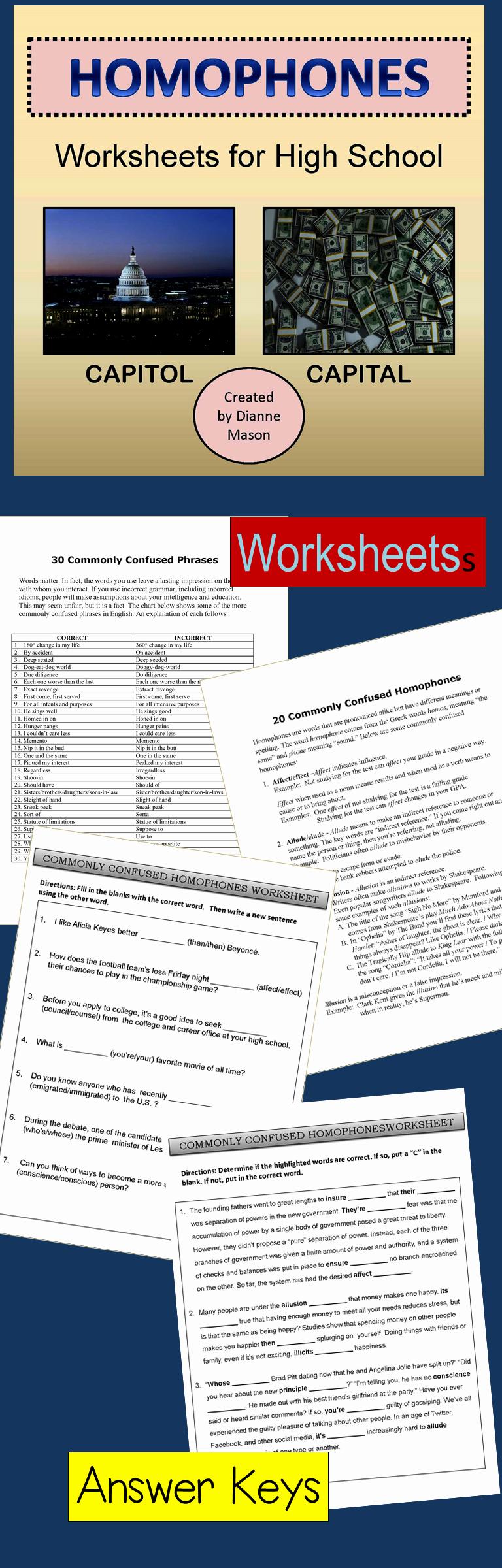 Homonym Worksheets High School New Homophones Worksheets for High School