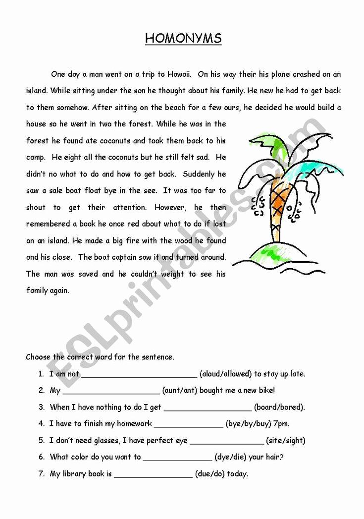 Homonym Worksheets Middle School Awesome Homonym Story Esl Worksheet by Snavy In 2020