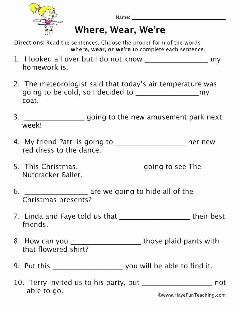 Homonym Worksheets Middle School Lovely Printable Homophone Worksheets Printable Homophone
