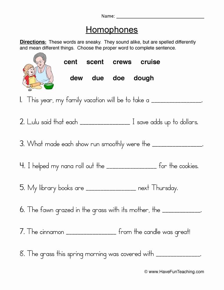 Homonyms Worksheets 5th Grade Lovely 20 Homophones Worksheet 5th Grade