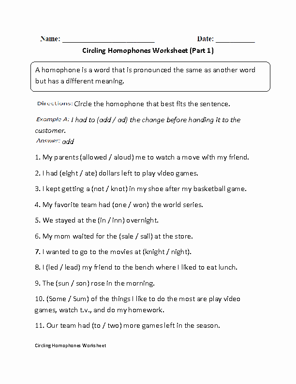 Homophone Worksheets Middle School Elegant Circling Homophones Worksheet Part 1