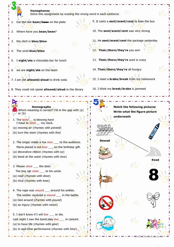 Homophone Worksheets Middle School Elegant Homonyms Homophones Homographs English Esl Worksheets