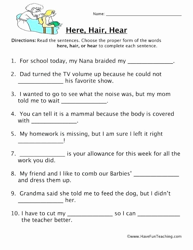 Homophone Worksheets Middle School Inspirational Exemple Homophone