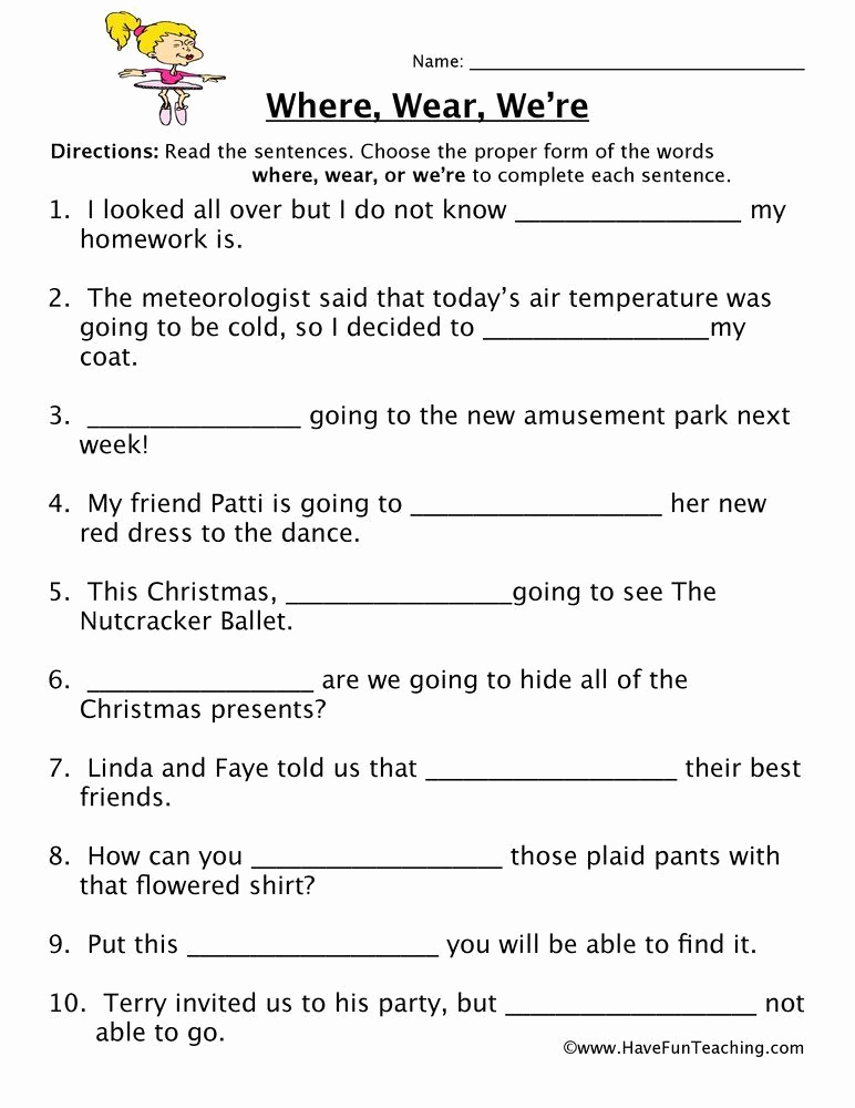 Homophone Worksheets Middle School Inspirational Free Printable Homophone Worksheets where Wear We Re