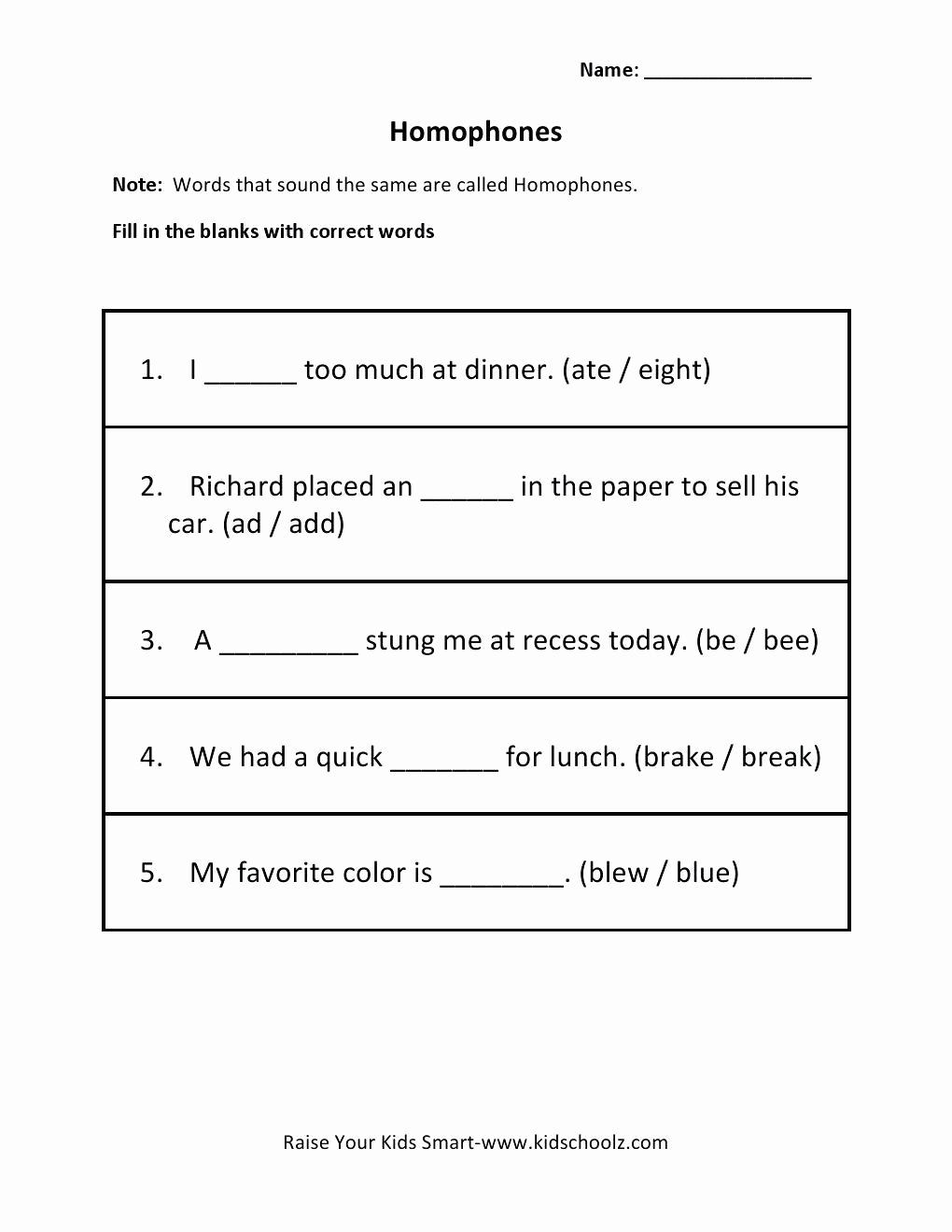 Homophone Worksheets Middle School Luxury 20 Homonym Worksheets Middle School