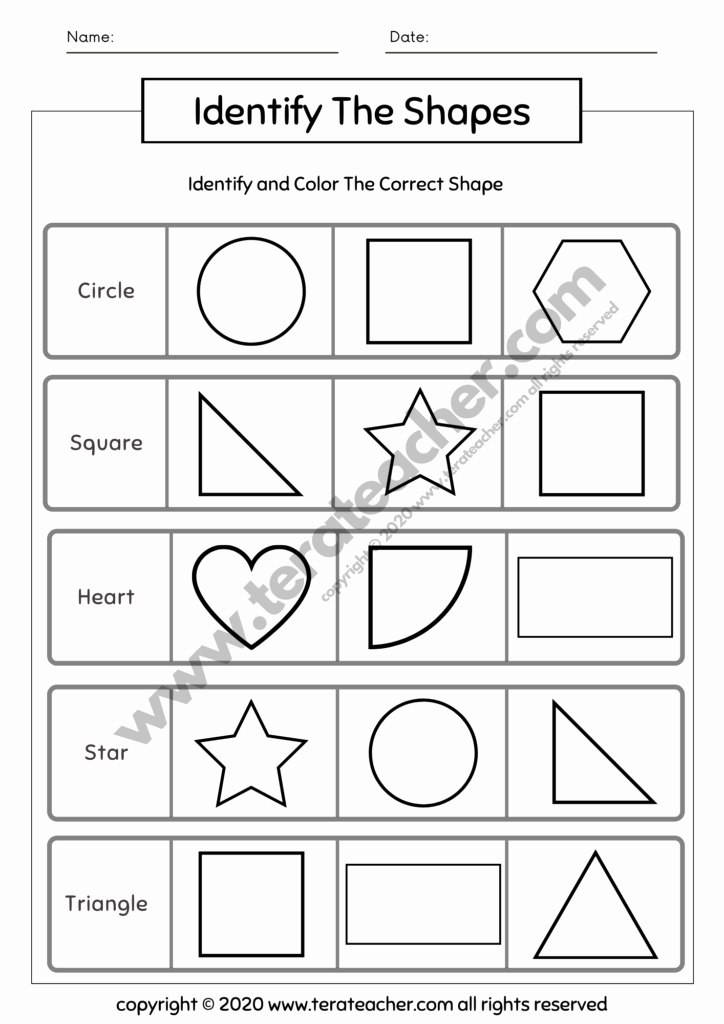 Identify Shapes Worksheet Kindergarten Awesome Learning Shapes Worksheets for Kindergarten Level Tera