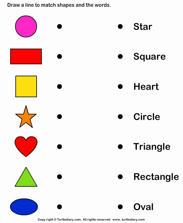 Identify Shapes Worksheet Kindergarten Elegant Match Shapes and Names Worksheet Turtle Diary