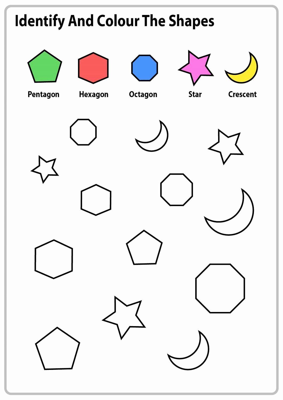 Identify Shapes Worksheet Kindergarten Inspirational Identify Shapes Worksheet Kindergarten Color the Shapes