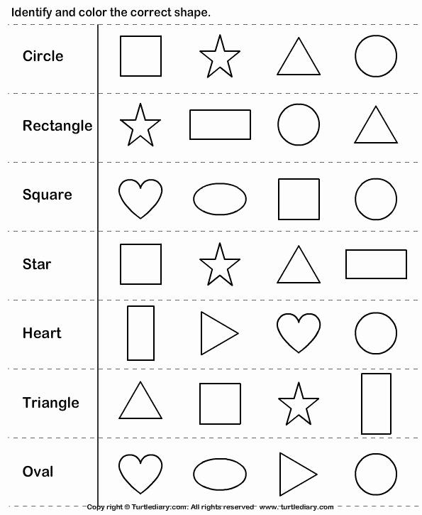 Identify Shapes Worksheet Kindergarten Inspirational K Identify Shapes Turtlediary