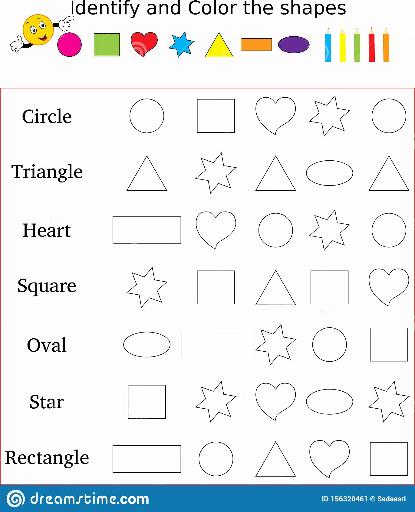 Identify Shapes Worksheet Kindergarten Lovely Worksheet Identify & Count Basic Shapes Cartoon Vector