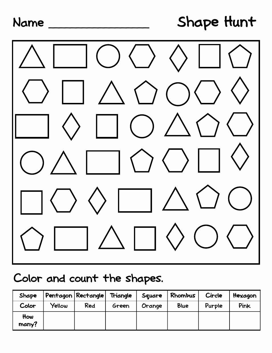 Identify Shapes Worksheet Kindergarten Luxury Shape Hunt Pdf Google Drive
