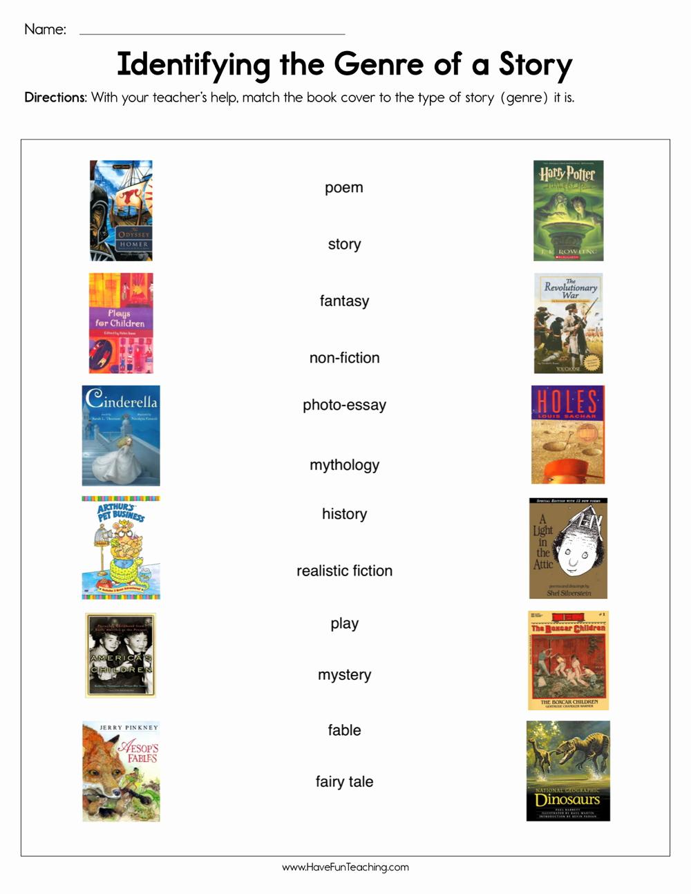Identifying Genre Worksheets Luxury Kindergarten Genres Resources