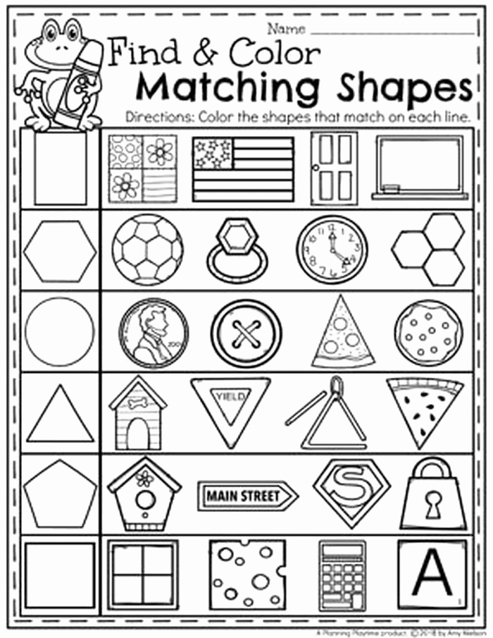 Identifying Shapes Worksheets Awesome Identify Shapes Worksheet Kindergarten 9 Matching Shapes