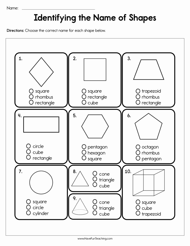 Identifying Shapes Worksheets Beautiful Identifying the Name Of Shapes Worksheet • Have Fun Teaching