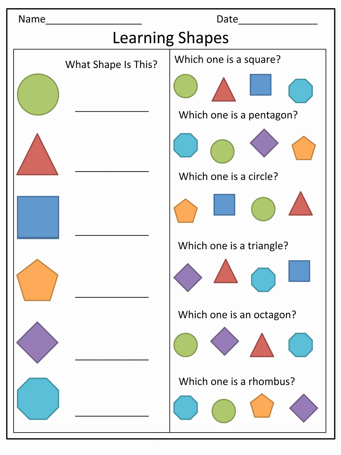 Identifying Shapes Worksheets Inspirational Basic Shapes Worksheets for Preschool
