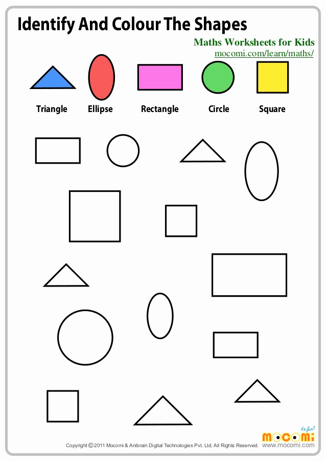 Identifying Shapes Worksheets Inspirational Identify and Colour the Shapes – Maths Worksheets for Kids