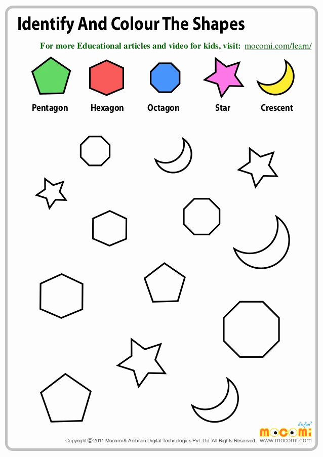 Identifying Shapes Worksheets Lovely Identify and Colour the Shapes – Maths Worksheets for Kids