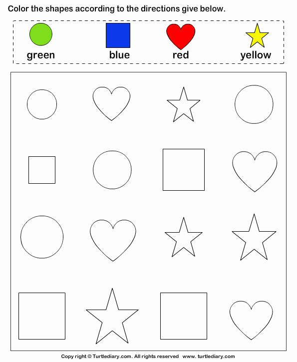 Identifying Shapes Worksheets Lovely Identify Shapes and Color them Worksheet Turtle Diary