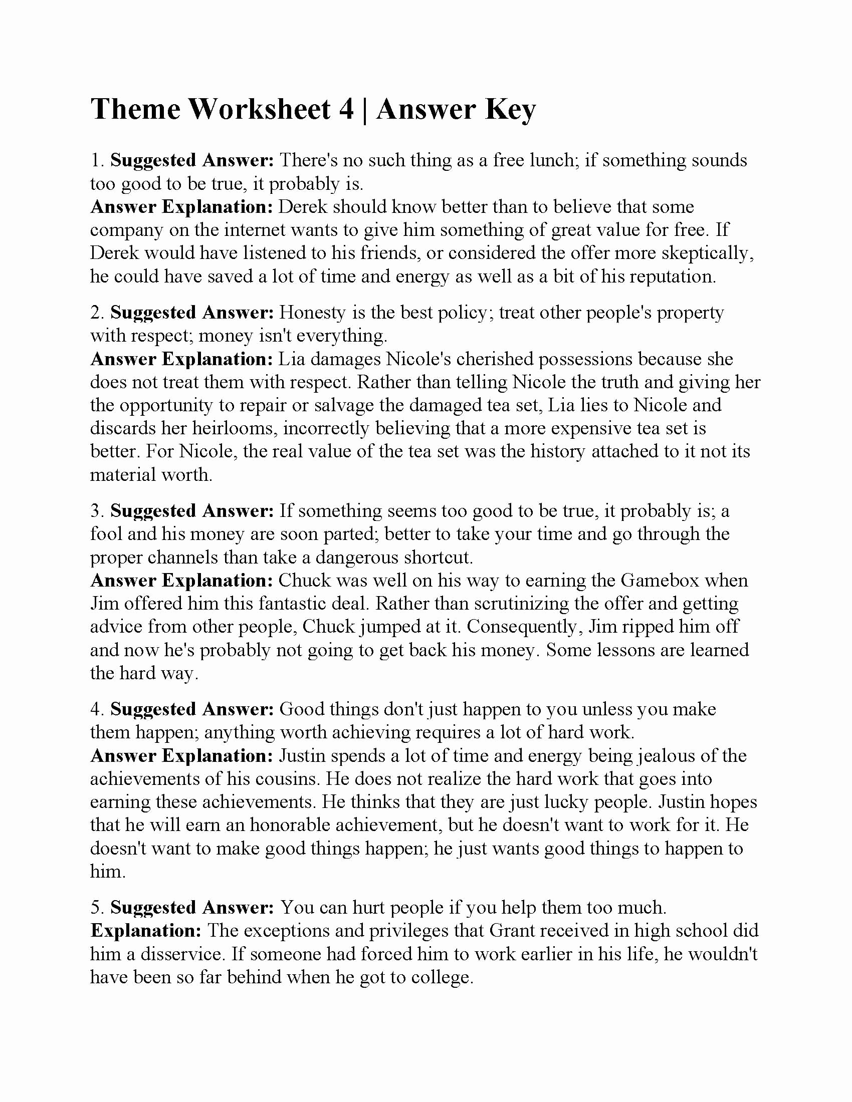 Identifying theme Worksheet Awesome This is the Answer Key for the theme Worksheet 4