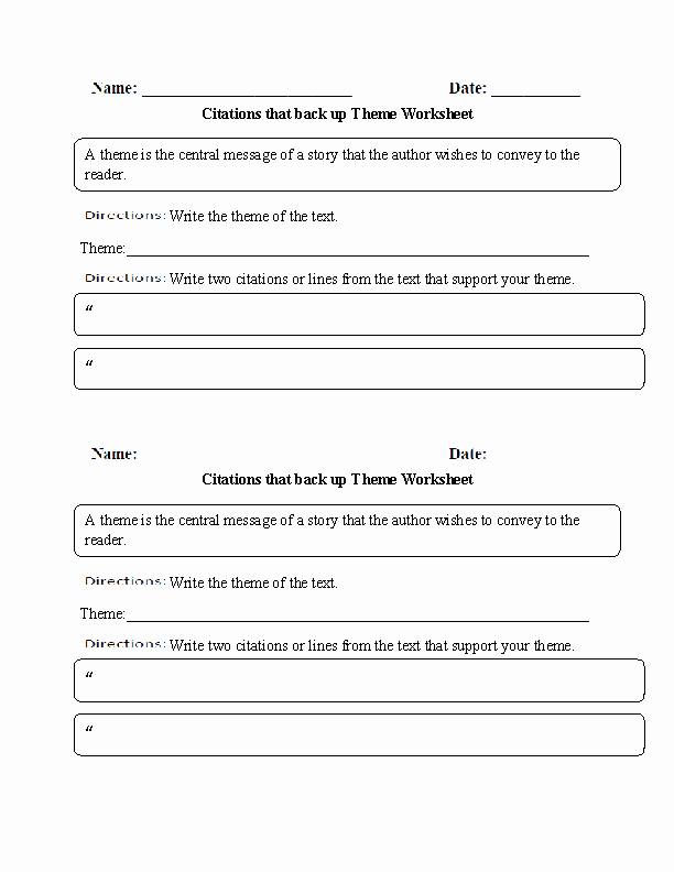 Identifying theme Worksheet Beautiful 12 Best Of Worksheets Finding the theme Reading