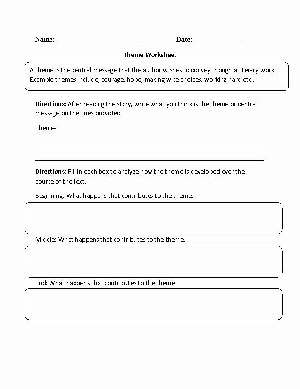 Identifying theme Worksheet Beautiful Englishlinx
