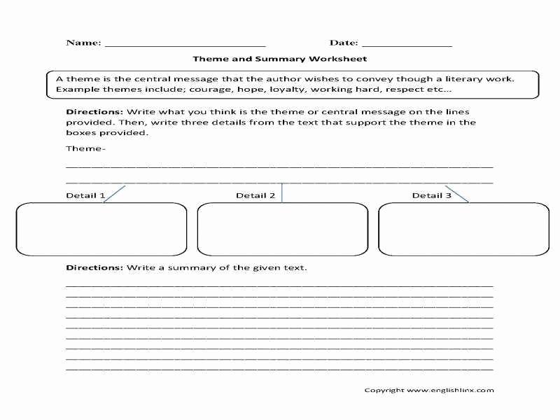 Identifying theme Worksheet Best Of Identifying theme Worksheets