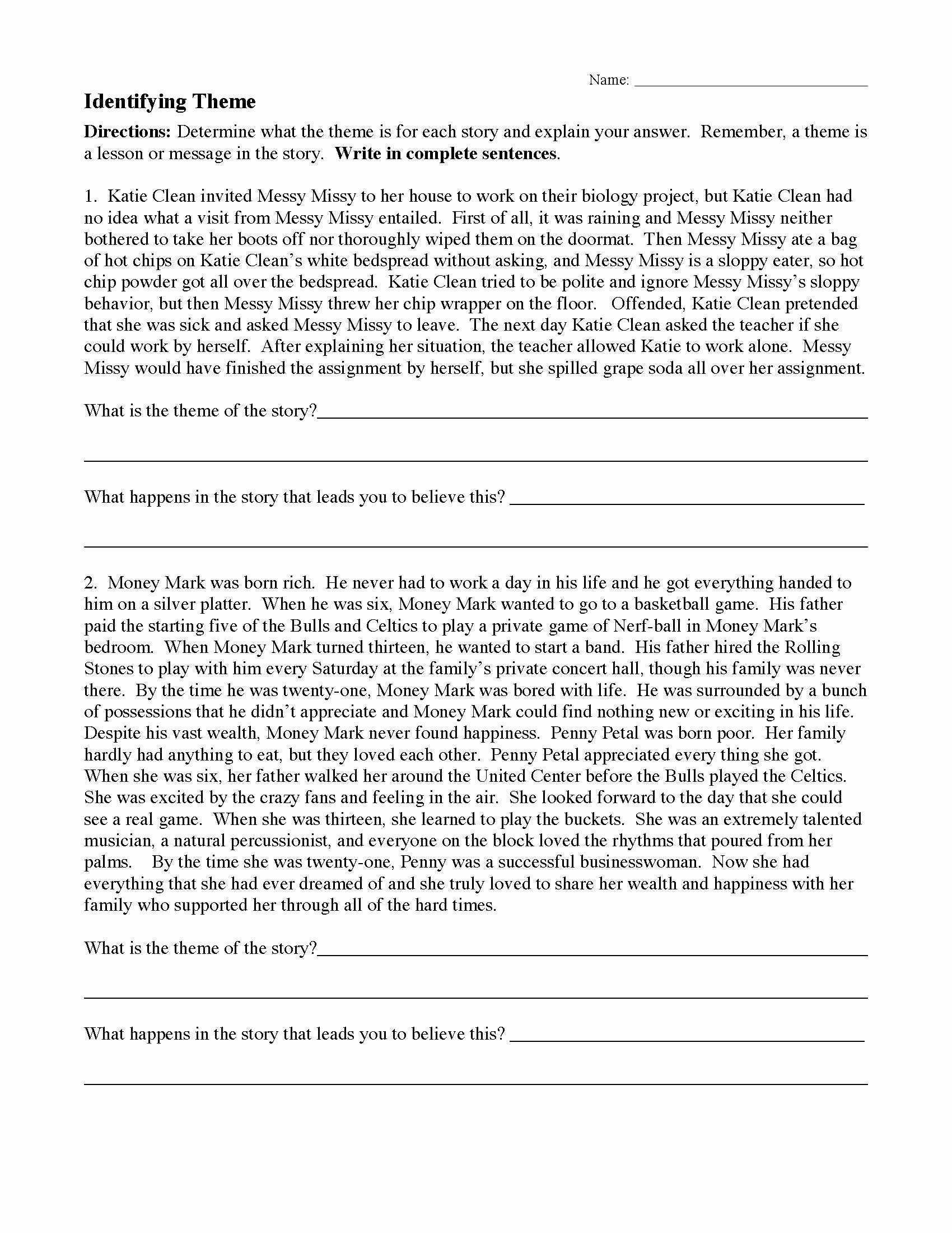 Identifying theme Worksheet Elegant theme Worksheet 1