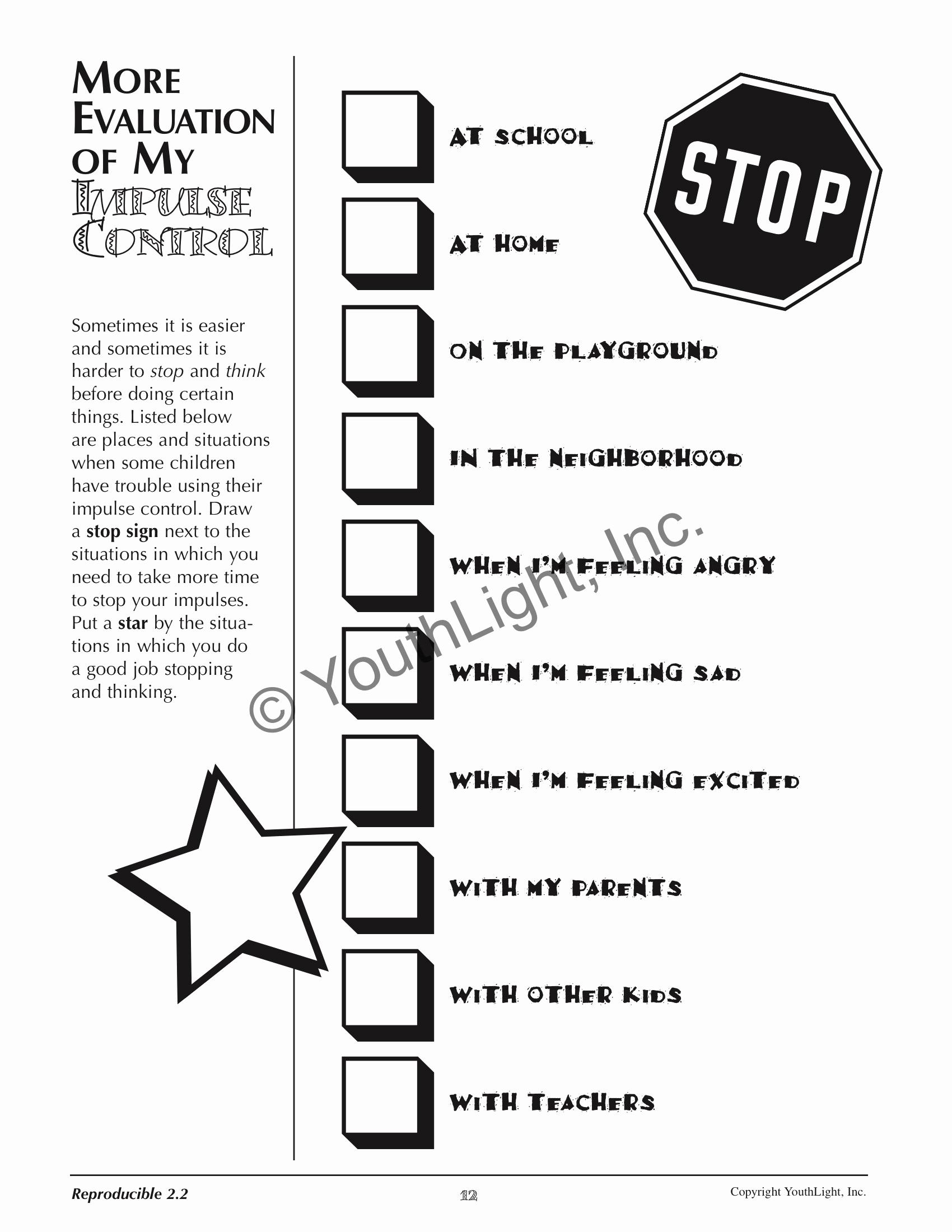 Impulse Control Worksheets Printable Beautiful Luscious Impulse Control Worksheets Printable