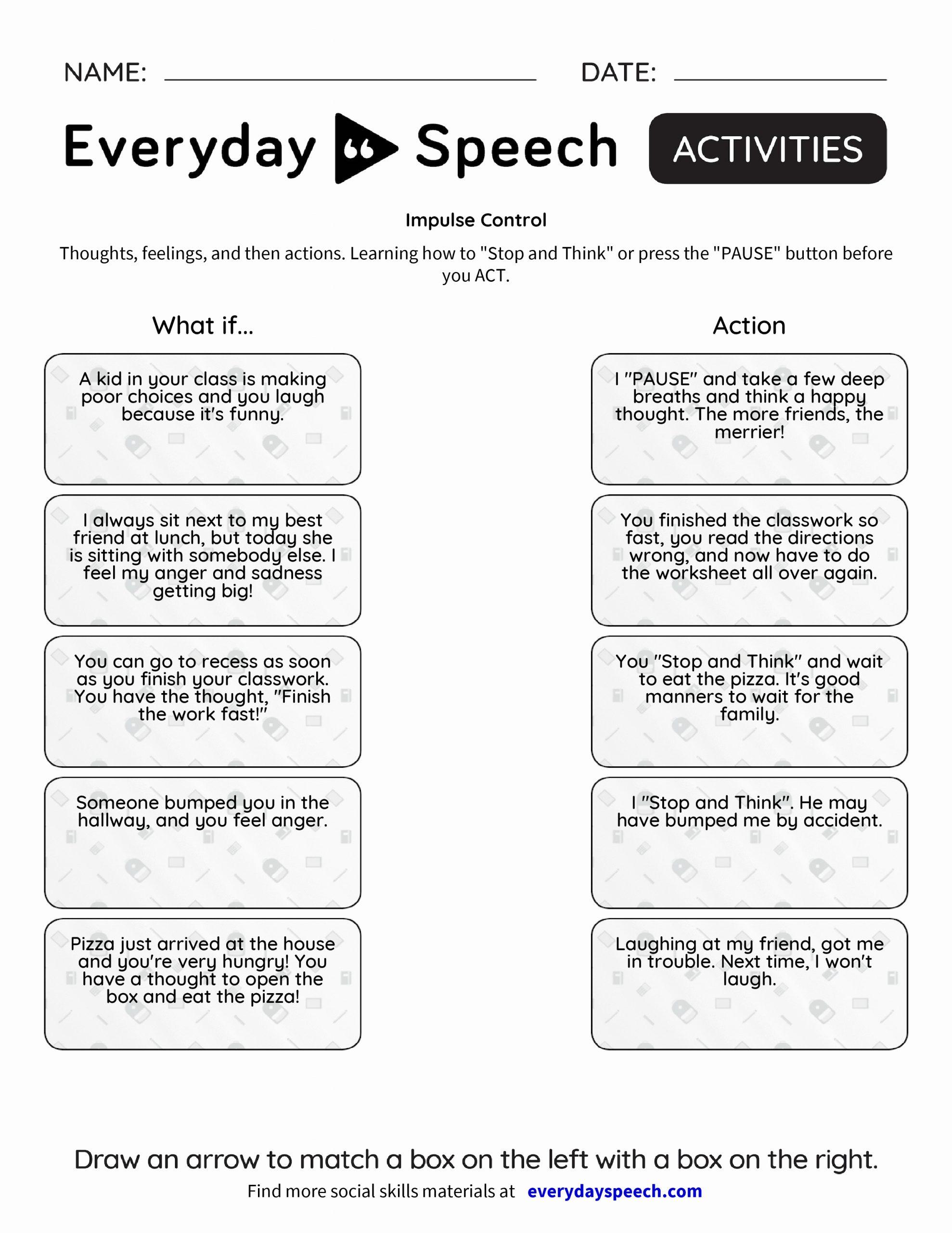 Impulse Control Worksheets Printable Beautiful Stop Think Act Worksheet